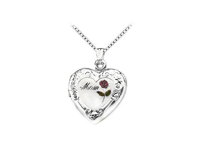 Sterling Silver Mom Heart Locket with Rose Pendant - 27.00 X 18.70 MM
