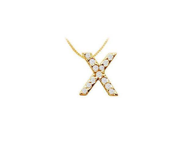 Classic X Initial Diamond Pendant  14K Yellow Gold - 0.15 CT Diamonds