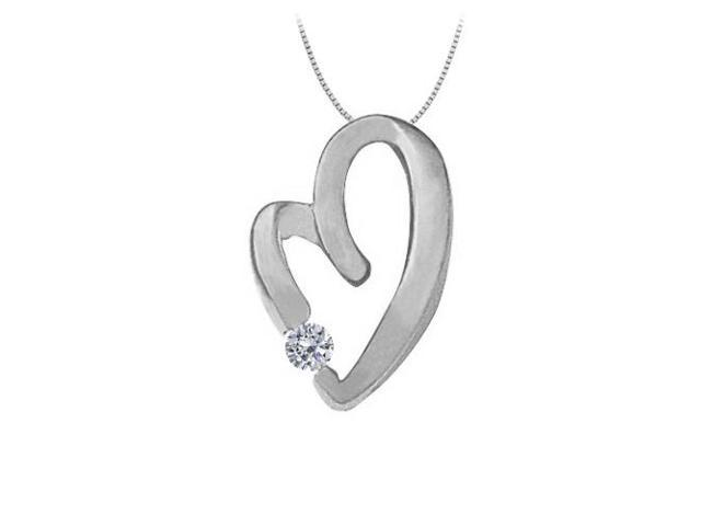 April Birthstone Cubic Zirconia Heart Pendant Necklace in Sterling Silver  0.15 CT TGW.