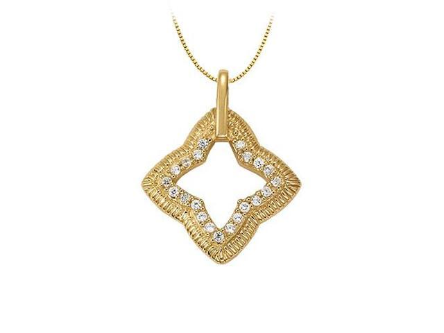Diamond Fashion Pendant Star Like Shape in 14K Yellow Gold 0.25 CT TDW with Yellow Gold Chain