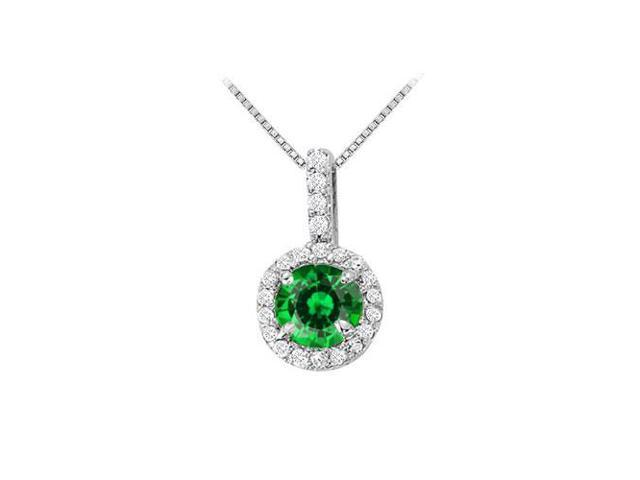Fancy Round Emerald and Cubic Zirconia Halo Pendant in 14K White Gold