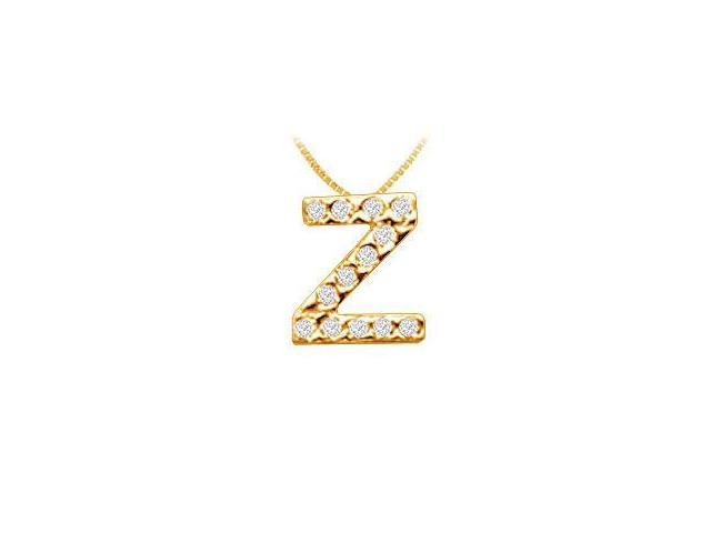 Classic Z Initial Diamond Pendant  14K Yellow Gold - 0.15 CT Diamonds