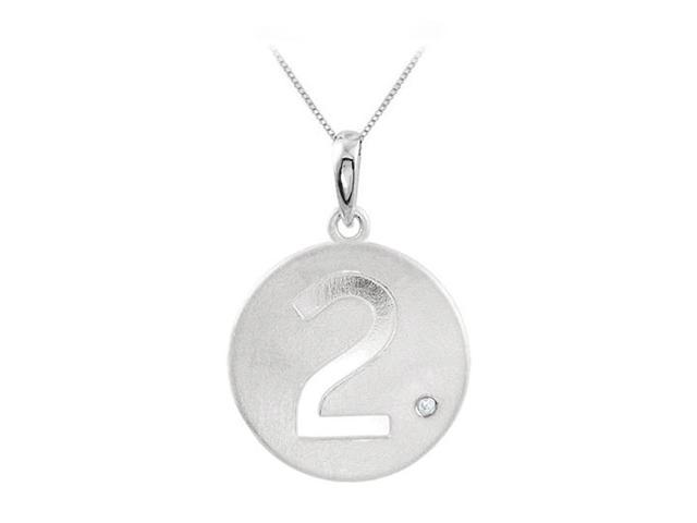 Number 2 Engrave Disc Pendant in 925 Sterling Silver with Single CZ Triple AAA Quality