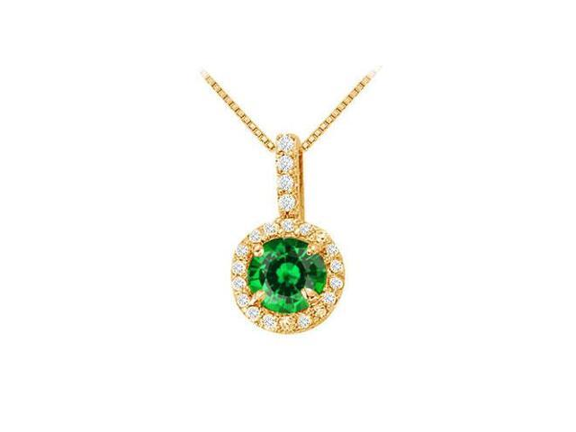 Fancy Round Emerald and Cubic Zirconia Halo Pendant in 14K Yellow Gold
