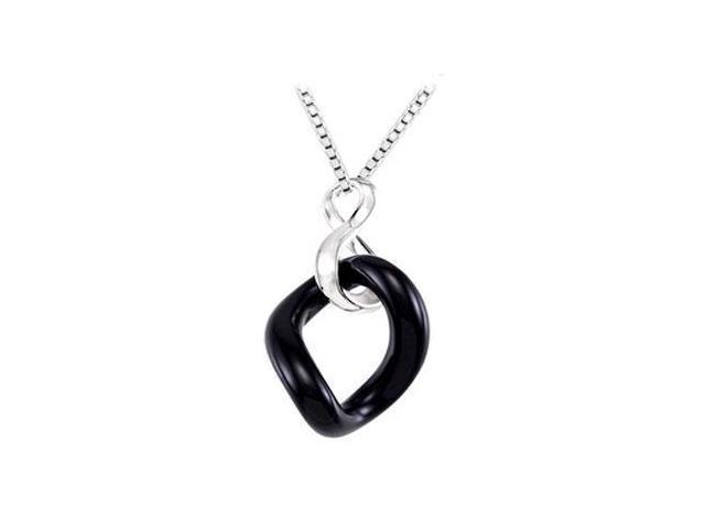 Sterling Silver Genuine Onyx Pendant - 32.00 X 24.00 X 05.50 MM