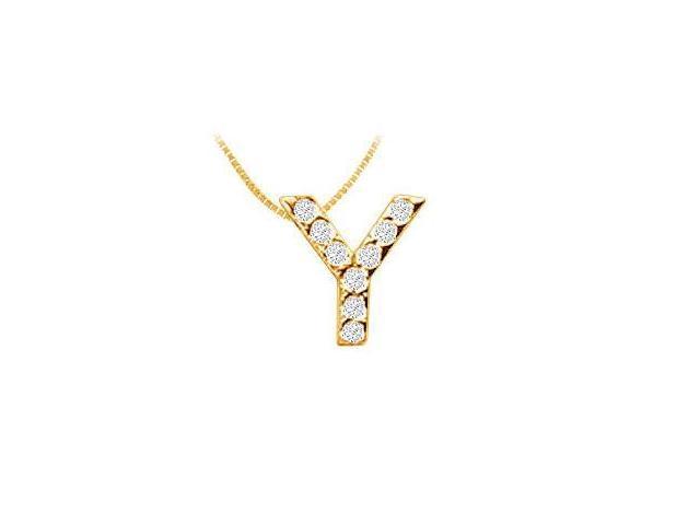 Classic Y Initial Diamond Pendant  14K Yellow Gold - 0.10 CT Diamonds