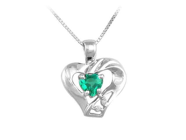 Emerald and Diamond Pendant  14K White Gold - 0.50 CT TGW