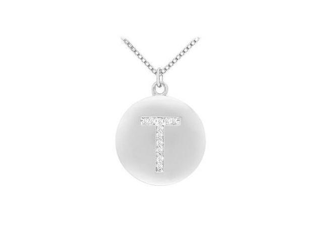 Diamond Initial T Disc Pendant  14K White Gold - 0.20 CT Diamonds