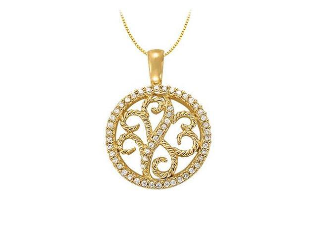 0.25 Carat Total Diamonds in 14K Yellow Gold Floral Circle Fashion Pendant