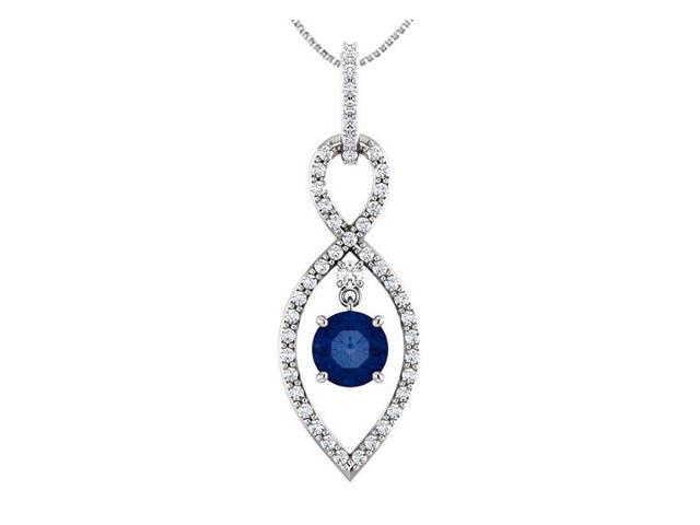 Rhodium Plating 925 Sterling Silver Infinity CZ Pendant with Created Sapphire of 1.50 Carat TGW