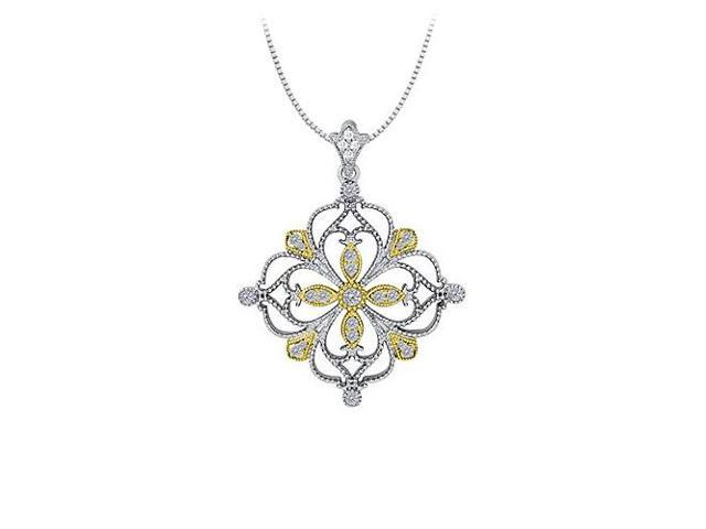 0.33 Carat Total Diamonds in 14K Two Tone Gold Floral Pattern Fashion Pendant
