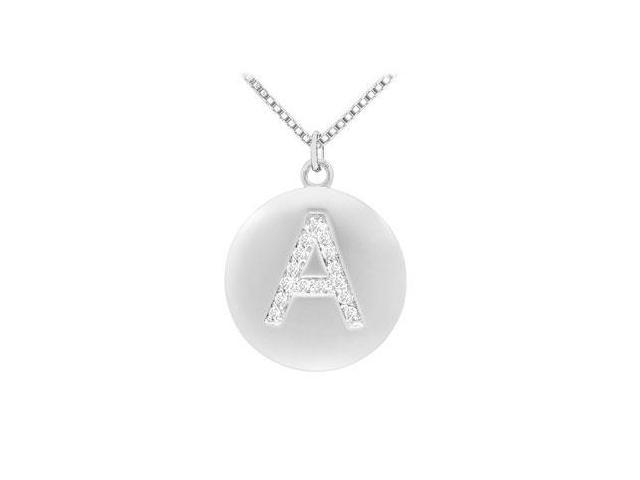 Diamond Initial A Disc Pendant  14K White Gold - 0.25 CT Diamonds