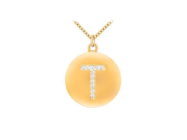 Diamond Initial T Disc Pendant  14K Yellow Gold - 0.20 CT Diamonds