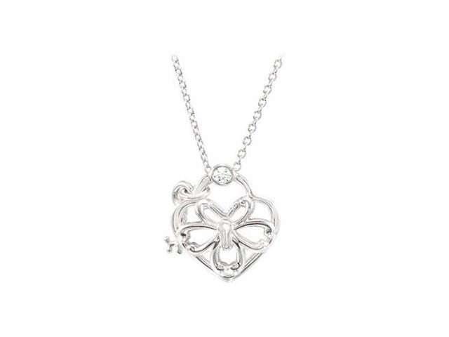 Sterling Silver 0.05 CT TW Diamond Heart 18 Necklace