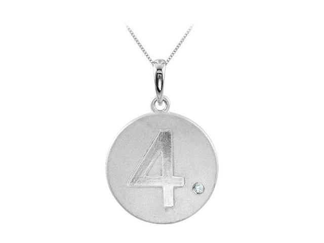 Cubic Zirconia Number 4 Disc Pendant in Rhodium Plating 925 Sterling Silver Single CZ Accent