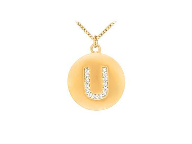 Diamond Initial U Disc Pendant  14K Yellow Gold - 0.25 CT Diamonds