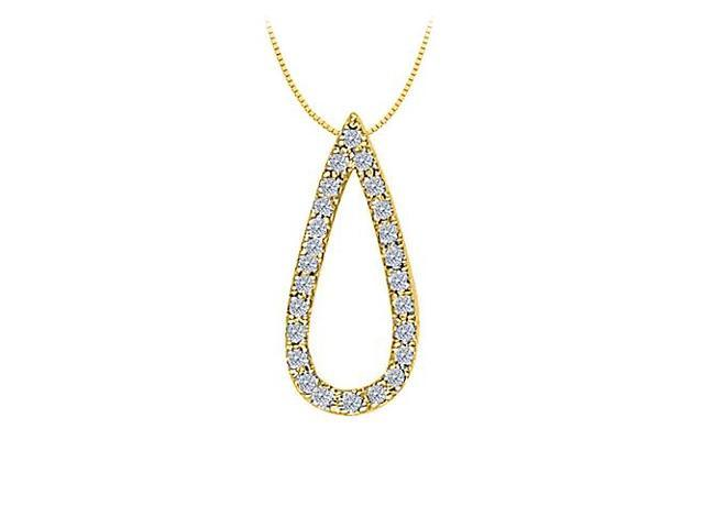 Diamond Tear Drop Pendant in 14K Yellow Gold 0.25 CT TDW with Yellow Gold ChainJewelry Gift
