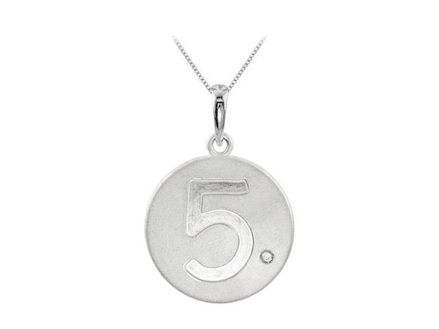Engraved Number 5 Disc Pendant with Single Cubic Zirconia Accent in 925 Sterling Silver