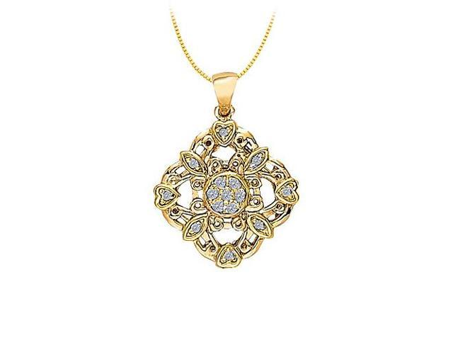 Diamond Square shaped pendant with little hearts in 14K Yellow Gold with Yellow Gold Chain