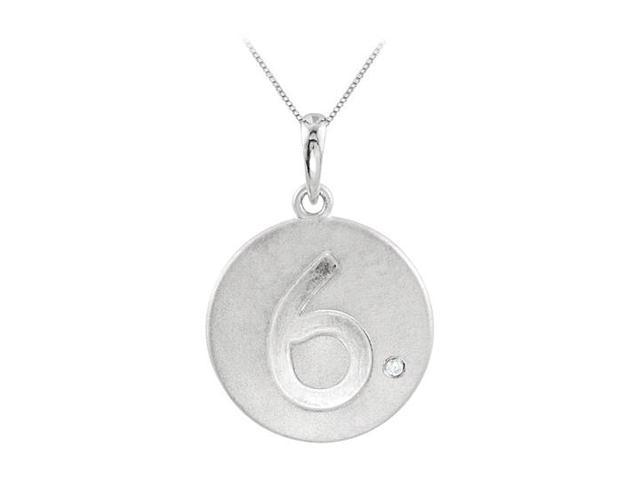 Triple AAA Quality CZ and Engraved Numeric 6 Disc Pendant in Rhodium 925 Sterling Silver