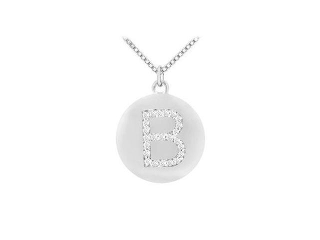 Diamond Initial B Disc Pendant  14K White Gold - 0.33 CT Diamonds
