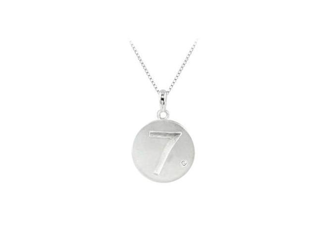 Engraved Number 7 Disc Pendant in Rhodium 925 Sterling Silver with Single Cubic Zirconia