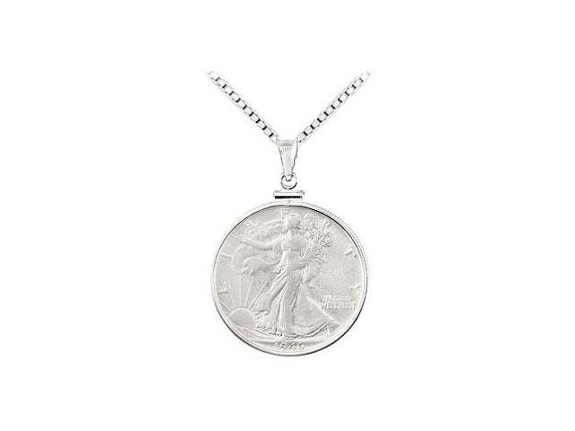 Sterling Silver Walking Liberty 1/2 Dollar Coin Set Into a Sterling Silver Coin Frame Pendant -