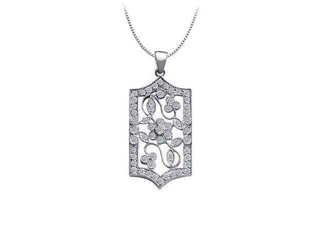 1.00 carat Total Diamonds in 14K White Gold Flower Design Filigree Pendant