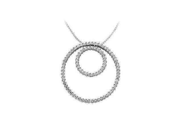Diamond Circle Pendant  14K White Gold - 1.25 CT Diamonds