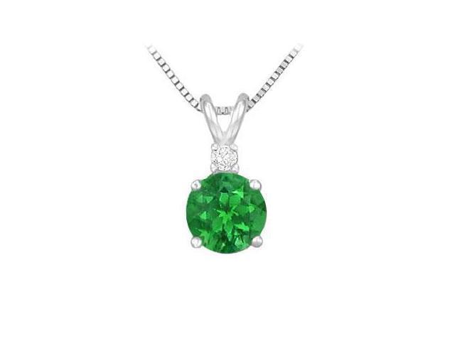 Diamond and Emerald Solitaire Pendant  14K White Gold - 1.00 CT TGW