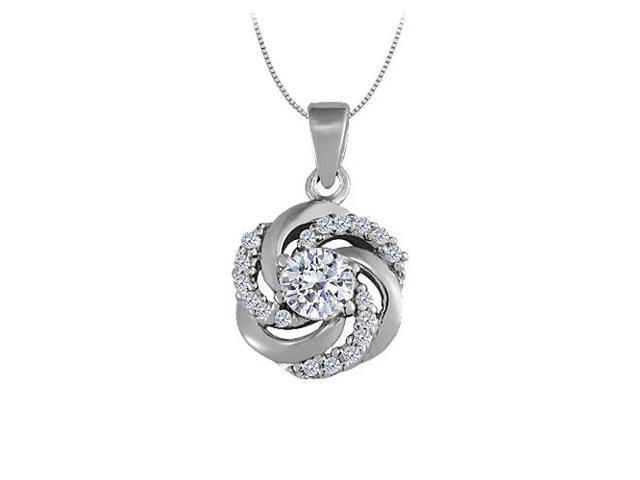 Diamond Fancy Circle Fashion Pendant in 14K White Gold 0.75 CT TDWJewelry Gift for Women