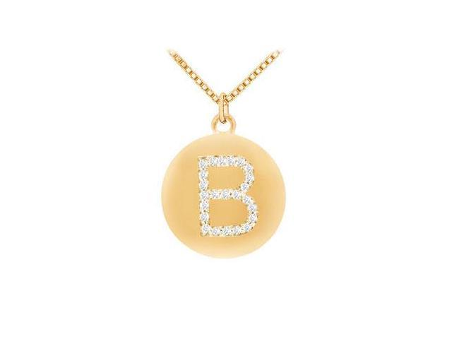 Diamond Initial B Disc Pendant  14K Yellow Gold - 0.33 CT Diamonds