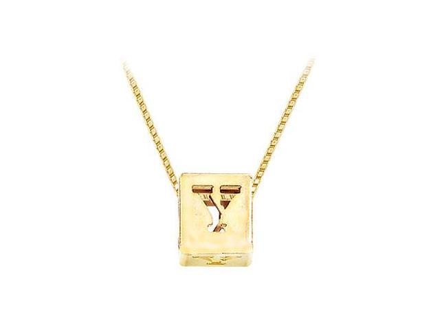 14K Yellow  Alphabet  Y  Semi-Polished Block Initial Chain Slide Pendant with Outside Diameter