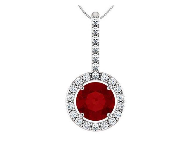 Created Ruby and CZ Halo Style Drop Pendant in 925 Sterling Silver 1.25 Carat Total Gem Weight