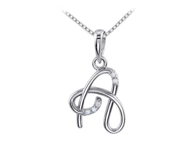 925 Sterling Silver A Script Initial Pendant with Triple AAA Quality CZ of 0.05 Carat Totaling