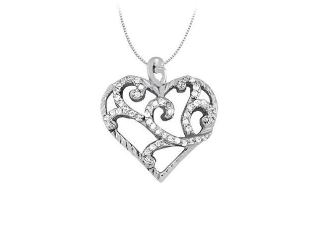 April birthstone Cubic Zirconia Heart Pendant in Sterling Silver 0.25 CT TGWValentine Day Gift