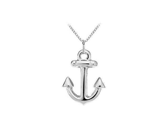 14K White Gold  Anchor Stamping Pendant