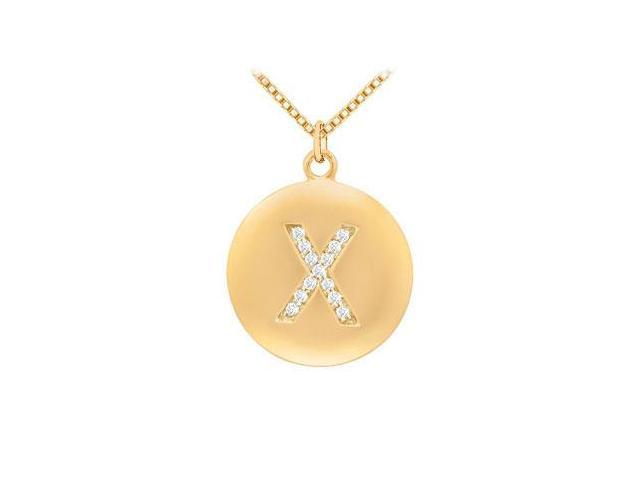 Diamond Initial X Disc Pendant  14K Yellow Gold - 0.25 CT Diamonds