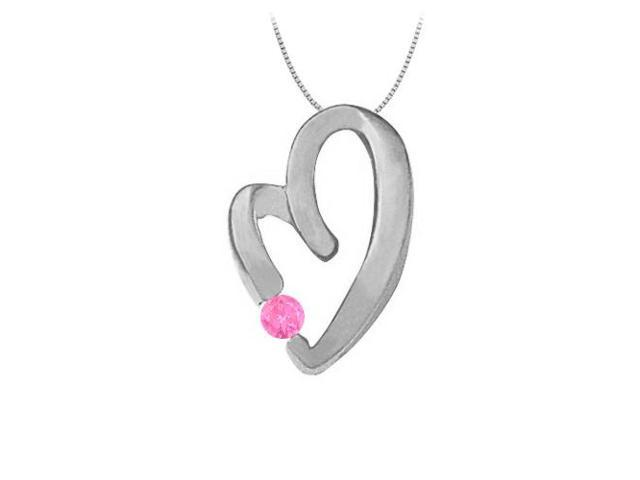 September Birthstone Created Pink Sapphire Heart Pendant Necklace Sterling Silver  0.15 CT TGW