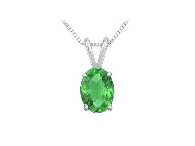 Emerald Solitaire Pendant  14K White Gold - 1.00 CT TGW