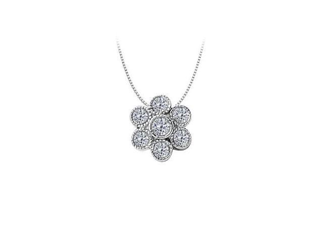 Diamond Flower Pendant  14K White Gold - 0.50 CT Diamonds
