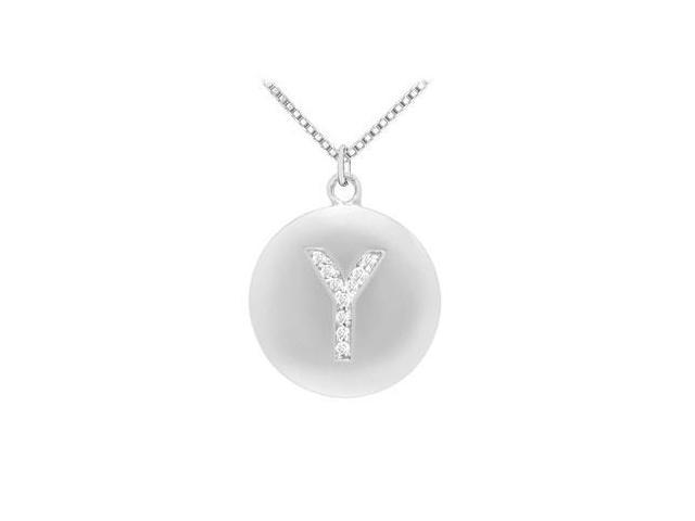 Diamond Initial Y Disc Pendant  14K White Gold - 0.20 CT Diamonds