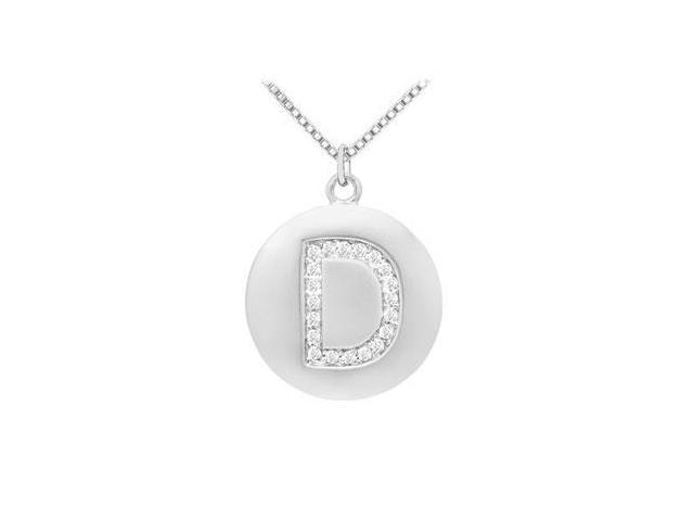 Diamond Initial D Disc Pendant  14K White Gold - 0.33 CT Diamonds