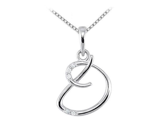 Cubic Zirconia Script Initial D Necklace from Rhodium 925 Sterling Silver 0.05 Carat TGW
