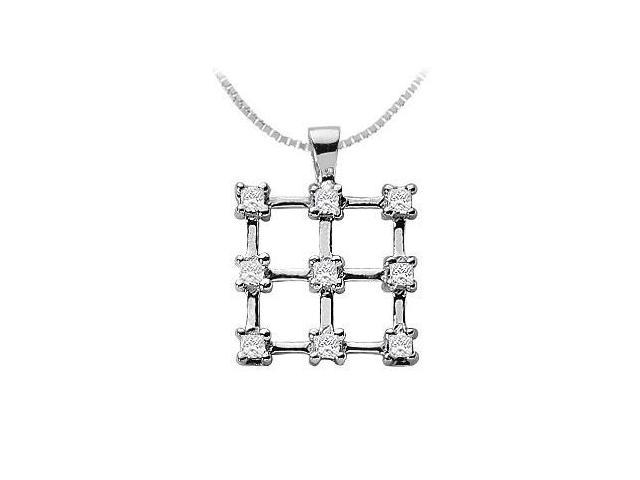 Diamond Square Pendant  14K White Gold - 0.45 CT Diamonds