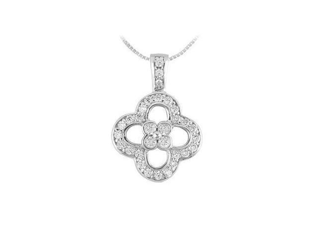 Diamond Flower Pendant  14K White Gold - 0.50 CT Diamonds