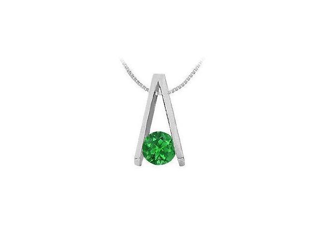 Emerald A Pendant  14K White Gold - 0.75 CT TGW