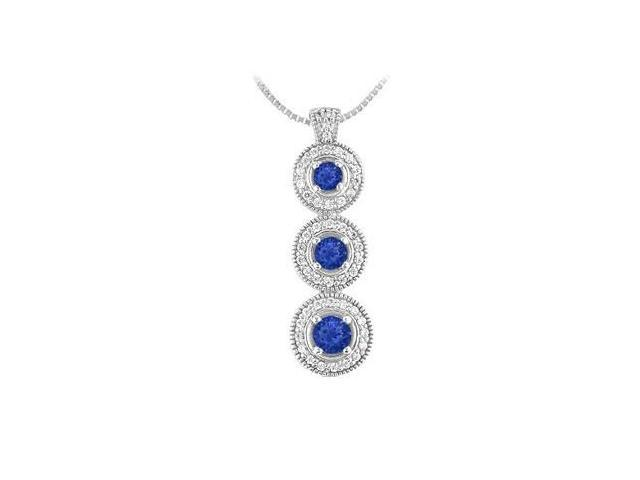 Blue Sapphire and Diamond Pendant  14 White Gold - 1.25 CT TGW