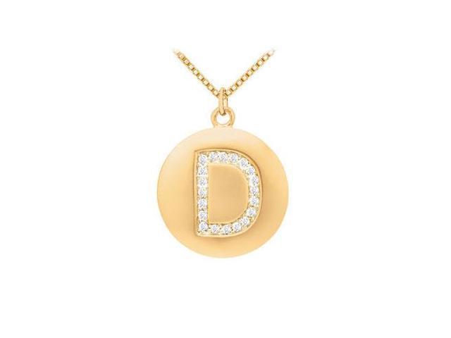 Diamond Initial D Disc Pendant  14K Yellow Gold - 0.33 CT Diamonds