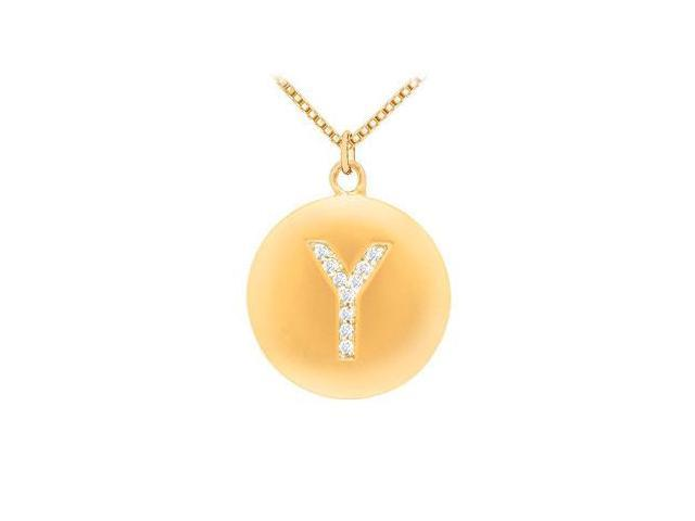 Diamond Initial Y Disc Pendant  14K Yellow Gold - 0.20 CT Diamonds